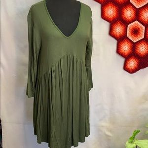 Southern stitch olive green dress-tunic